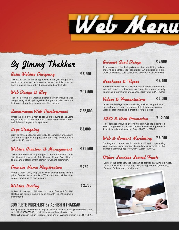 Website Design Cost Estimate Jimmy Thakkar