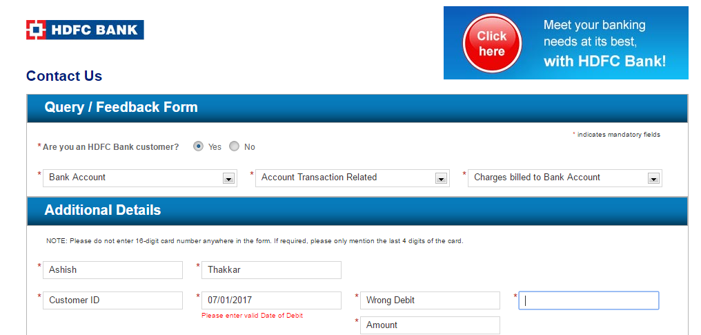 please enter valid date of debit hdfc